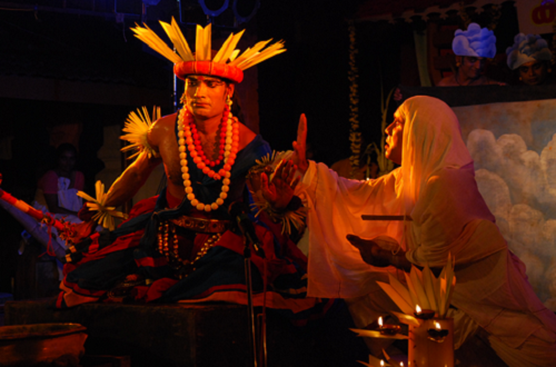 Karnnabharam (The Anguish of Karnna) - written by Bhasa - directed by Chandradasan - performed by Lokadharmi, Kochi - Venue ; Kadavallor Temple, Trissur - premiered November 2001 - actors from left clockwise ; Selvaraj & Sudheer Babu - photo by Kadavallor Vijayan.
