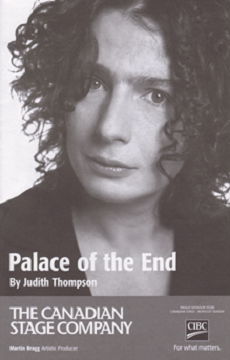 Actress Arsinee Khanjian in the poster of Palace of the End, by the Stage Canadian Company.
