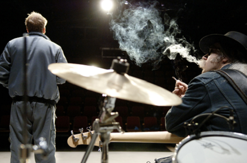 Mats Blomgren, Anders Blad in A Dark and Northern Place, written and directed by Mattias Andersson, 2005 © Ola Kjelbye [Courtesy of Backa Teater, part of Göteborg City Theatre in Göteborg, Sweden]