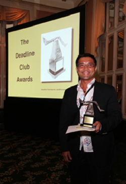 Randy Gener receiving a Deadline Club Award at the Waldorf Astoria Hotel © Rick Maiman