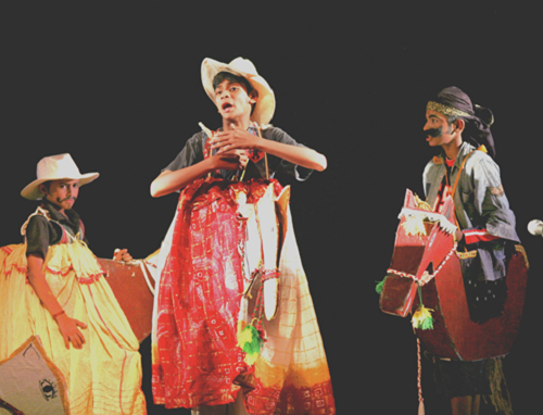 Aalibabayum 40 Kallanmarum (Ali Baba and the Forty Thieves) - written by Chandrasekhar Kambar - directed by Chandradasan - performed by Mazhavillu, the children's theatre Kochi - venue - Changampuzha Park Edappalli - premiered on 13 May 2007 - actors from left clockwise ; Gopi Krishnan, Vijay Krishnan & Ashwin Menon - photo by Niyas Marikar.