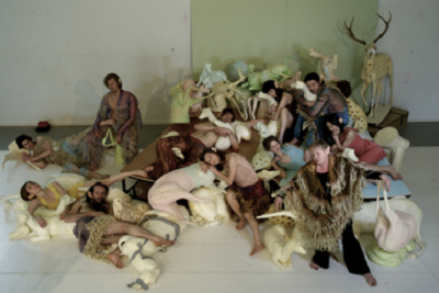 Hans Petter Dahl, Grace Ellen Barkey, Anneke Bonnema, Yumiko Funaya, Julien Faure, Benoit Gob, Inge Van Bruystegem and Maarten Seghers in The Deer House, creation by Jan Lauwers and Needcompany in Brussels (Belgium), 2008 © Marteen Vanden Abeele