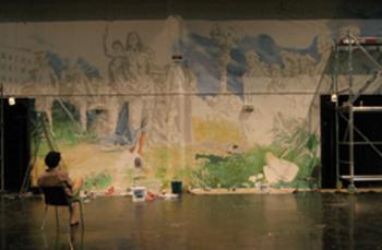A scene from A szabadulóművész apológiája [Eloge de l'escapologiste], Krétakör, MC 93 Bobigny, Paris, 2008 © Krétakör.