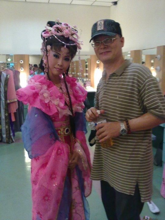 "Backstage: ""Beautiful Princess"" and her director [Ma, Bao-Shan]. Actress: Su Ming-Yu in I Love My Fierce Wife [Taiwanese Opera]; premiered on 2010/09/03 at Yi-Lan County Hall; photo © Pan Li-Chun"