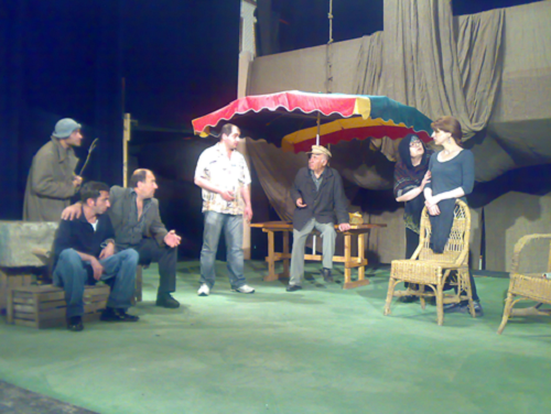 Hot August by the theatre in Gori portrays the town as an idyllic garden, plastic grass and all, where Georgians had to flee the advancing Russian troops oin 2008.