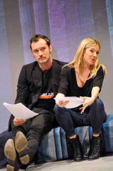 Sienna Miller and Jude Law in a rehearsal of the Belarus Free Theatre's Discover Love written by Nikolai Khalezin, December 2010 © Keith Pattison, Young Vic Theater (U.K.)