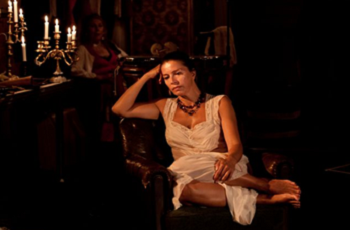 The tragic Lady (Kristiina Halttu), rejected by her beloved, Master Yehudi. The Finnish National Theatre, 2010 © Ville Hyvönen