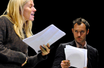 Jude Law and Sienna Miller in a rehearsal of the Belarus Free Theatre's Discover Love written by Nikolai Khalezin, December 2010 © Keith Pattison, Young Vic Theater (U.K.)