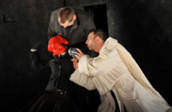 Figure 13 : Jean-Nicolas Marquis (Hélicon), Denis Lamontagne (Cassius), Christian Michaud (Caligula)