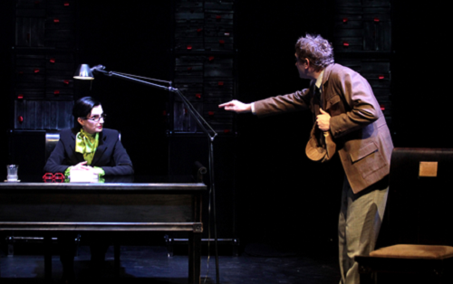 Nato Murvanidze (left) as censor Neo and Nika Kutchava as dramatist Tsubaki in Raspberry, a Georgian adaptation of Mitani Koki's The University of Laughs © Tako Robaqidze
