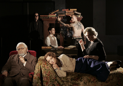 Laurence Ballard, John Procaccino, Kristin Flanders, Anna Scurria, Daniel Eric Gold and Malte Frid-Nielsen in The Singing Forest written by Craig Lucas and directed by Bartlett Sher at Intiman Theatre in Seattle, Washinton, 2004 © Chris Bennion