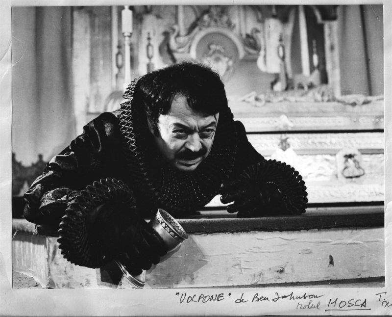 Ion Lucian as Mosca in Volpone by Ben Johnson at the Comedy Theatre in (Romania) Bucharest, 1974 © Comedy Theatre