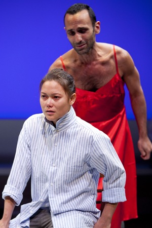 KK Moggie and Amir Darvish in The Golden Dragon written by Roland Schimmelpfennig and directed by Serge Seiden, at the Studio Theatre of Washington, D.C. (USA) © Scott Suchman, November 2011
