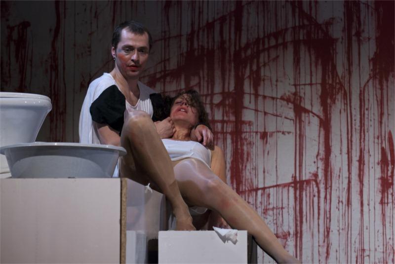 Slavisha Kajevski and Dragana Kostadinovska in Don't You Faust Me, directed by Srdjan Janićijević at Macedonia National Theatre in Skopje (Macedonia) © Rantash