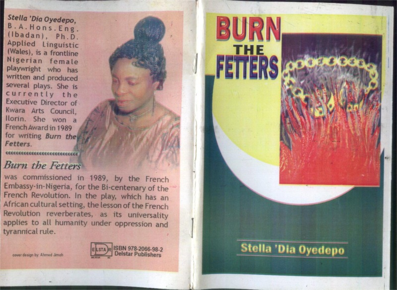 Book cover for Stella 'Dia Oyedpo's play Burn the Fetters © Courtesy of Oyedpo