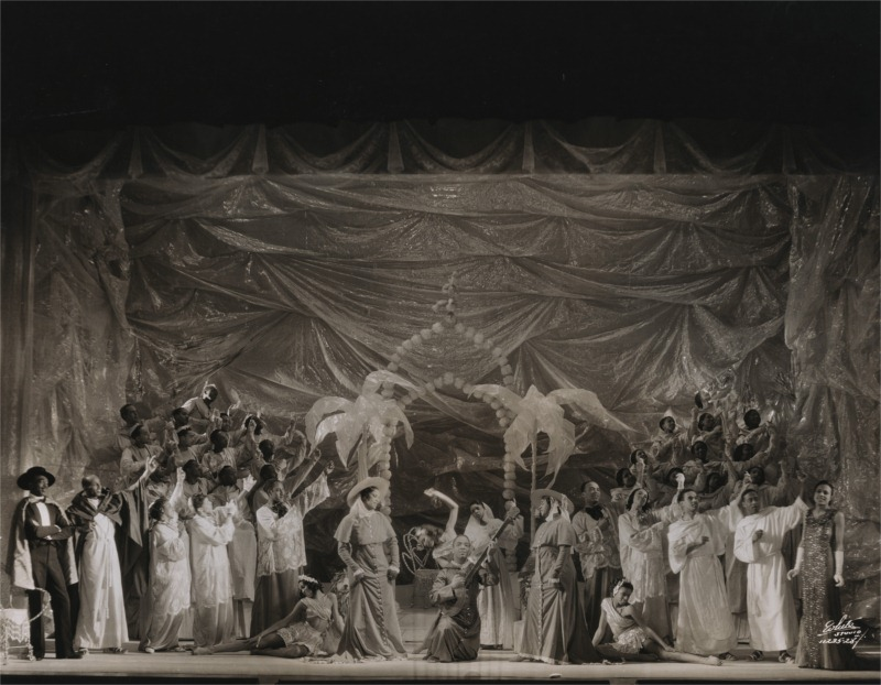 Florine Stettheimer's set for Act I of the 1934 production of Four Saints in Three Acts; Yale Collection of American Literature, Beinecke Rare Book and Manuscript Library, Yale University, New Haven; photo: Harold Swahn.