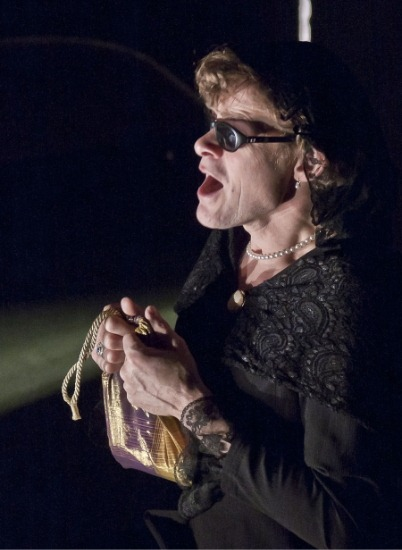Kai Bredholt (The widow of a Basque officer) in The Chronic Life, by Eugenio Barba: Odin Theatret, 2011. Odin Theatret Archives © Tommy Bay