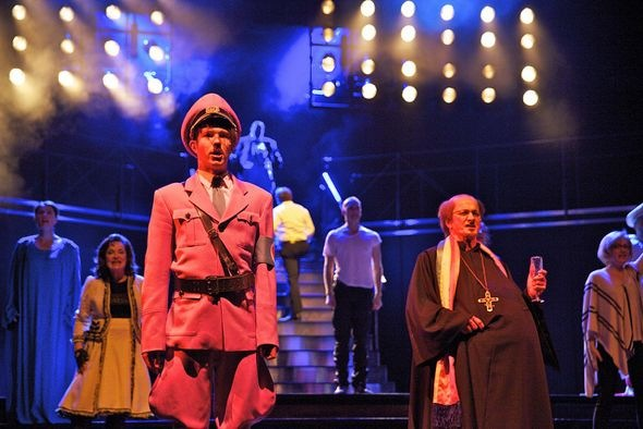 "In the (melo)dramatic ""International Little Homo Opera"", scene 15/19, characters such as Hitler, Stalin, Churchill and St Paul march across the stage. © Laura Malmivaara"