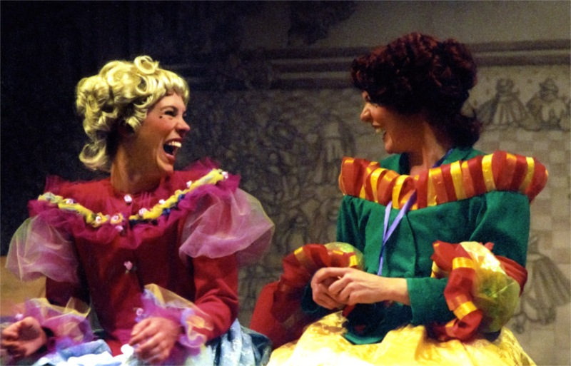 """Les Précieuses Ridicules"" by Molière. Two girls enjoying life (for the moment): Jilian Boyd, Hilde Guitormson. Trans. R.W. Goldsby. University of Washington, School of Drama, 2005. © Adam Kaplan"