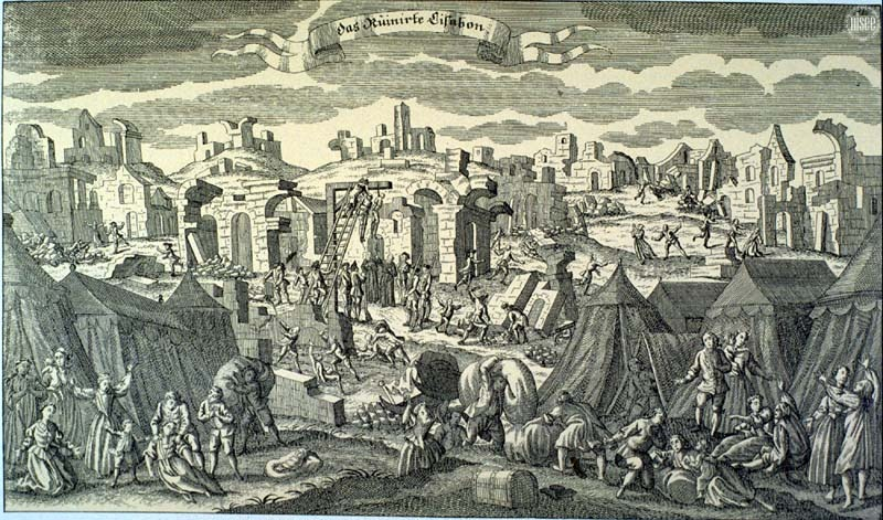 """The Ruins of Lisbon."" 1755 German copperplate. The depicted hanging was to punish the looters."