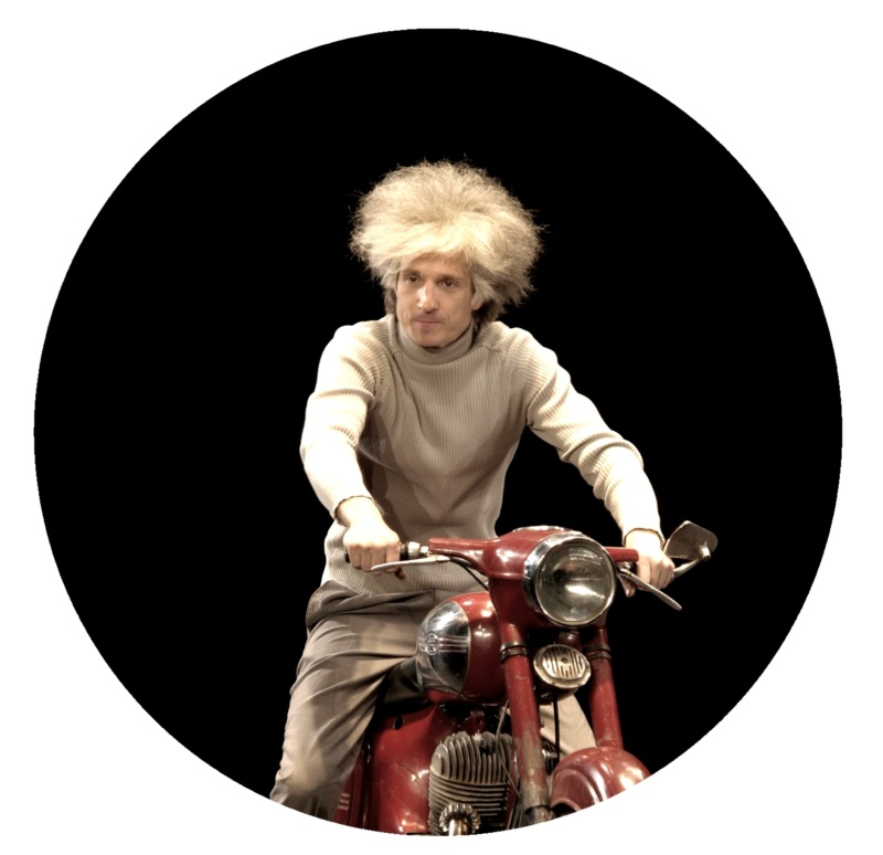 Kaspars Znotins as the Latvian poet Ziedonis in Alvis Hermanis' production Ziedonis and the Universe; the brief moment when the poet seems to be in control of the motorcycle.