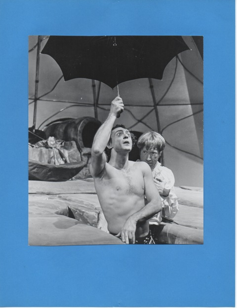 """Peter Donat (half naked) and Michael O'Sullivan in """"Architect and Emperor of Assyria"""" by Arrabal. Marines Memorial Theatre for American Conservatory Theatre, San Francisco, 1969. © Photo, Donat archive"""