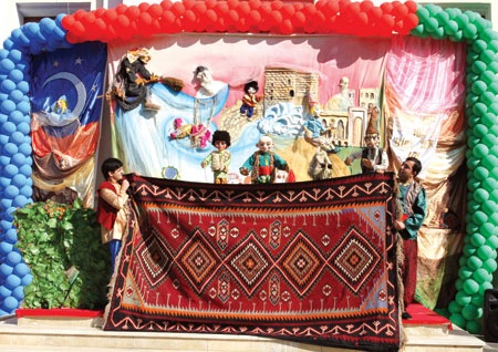 Puppets present the opening ceremony .. Kilimasary technique means performing amidst traditional Azerbaidjani kilim-carpets.