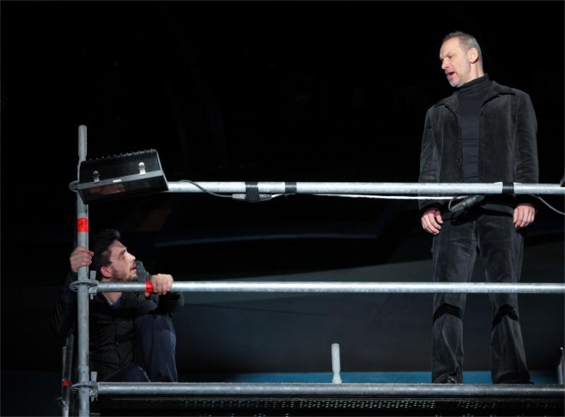 Hamlet (Tamás Szabó Kimmel) with the Ghost of Hamlet's father (Zsolt László).