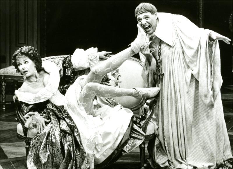 """Tartuffe"" by Molière, Rob Leibman as Orgon; Jessica Walters as Dorine (Leibman, Tartuffe). Los Angeles Theatre Center, 1986. © Photo by Chris Gulker"