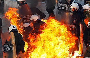 The economic crisis in Greece has turned the streets into an open theatre of violent protest.