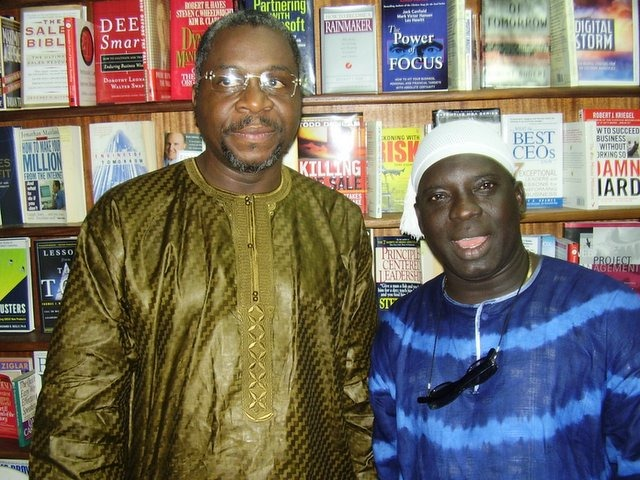 """Dr. Ahmed Yerima (when he was a director of National Troupe of Nigeria) and """"Otunba"""" Tunji Sotimirin, a drama lecturer and musician at a at Ikoyi, Lagos"""