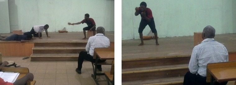 """Professor Ahmed Yerima directing rehearsals of his own play """"The Sacred Mortar"""" at the Redeemers University in Nigeria."""