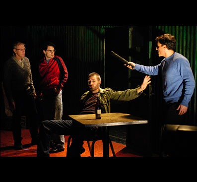 """""""Powder Keg"""" written by Dejan Dukovski, directed by Michelle Malavet at Horizon Theatre Rep in New York City, with Rafael De Mussa, Jace McLean, William Stone Mahoney, James Nardella, Stacy Rock, and Randy Ryan, 2012. © Photo courtesy of HTROnline.org"""
