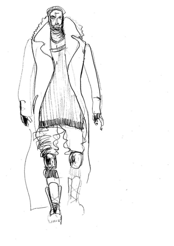 "Toromanov's costume sketch for ""Hamlet"" written by Shakespeare, verse translation into Bulgarian by Alexander Shurbanov, directed by Javor Gardev, set and costume design by Daniela Oleg Liahova, Nikola Toromanov & Venelin Shurelov at National Theatre in Sofia, Bulgaria, 2012. © Courtesy of N. Toromanov."