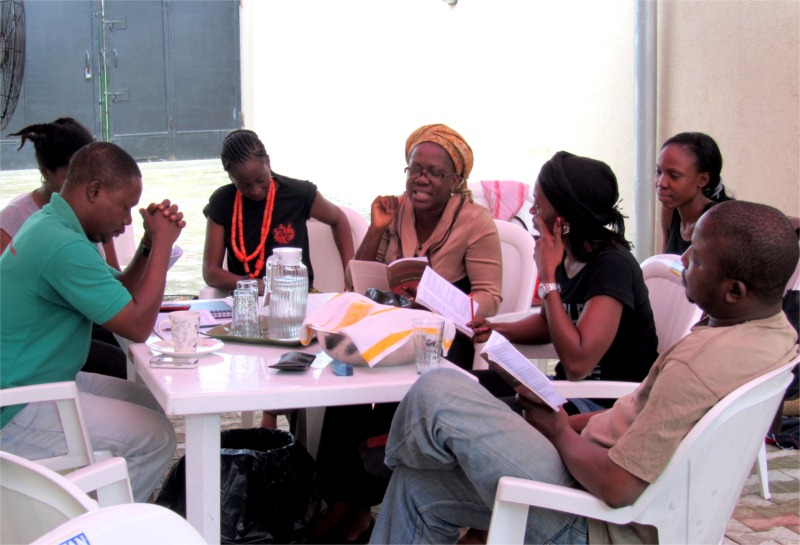 "Rehearsals at Lekki=based Lufodo Group headquarters of ""Little Drops,"" written by Ahmed Yerima, directed by Niji Akanni, in Port Harcourt and Lagos, Nigeria, November 2010 © Courtesy of Finding Nollywood."