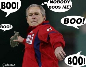 Some can take booing in good faith. Some others cannot—the ex-U.S. President George Bush Jr., for example.