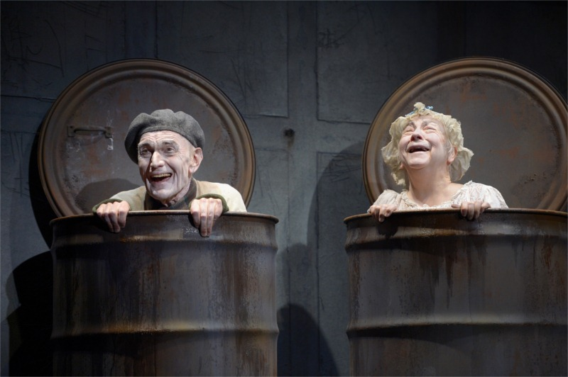 """Nagg (Giles Havergal, left) and Nell (Barbara Oliver) in Samuel Beckett's """"Endgame."""" Dir. Carey Perloff, American Conservatory Theater, San Francisco, California, May 2012. © Photo by Kevin Berne"""