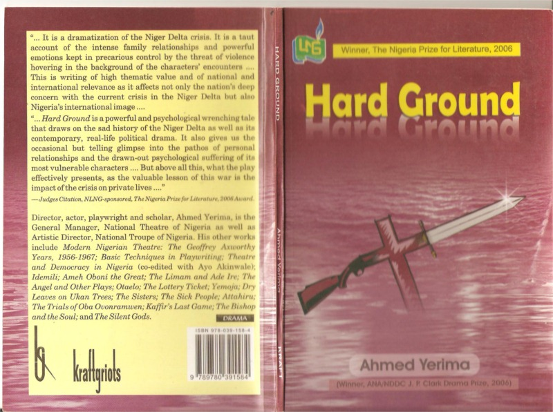 "Book cover of Ahmed Yerima's play ""Hard Ground"""