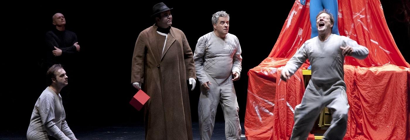 Les acteurs de L'atelier volant Olivier Martin Salvan, Myrto Porcopiou, Richard Pierre, Nicolas Struve, Dominique Parent, René Turquois.