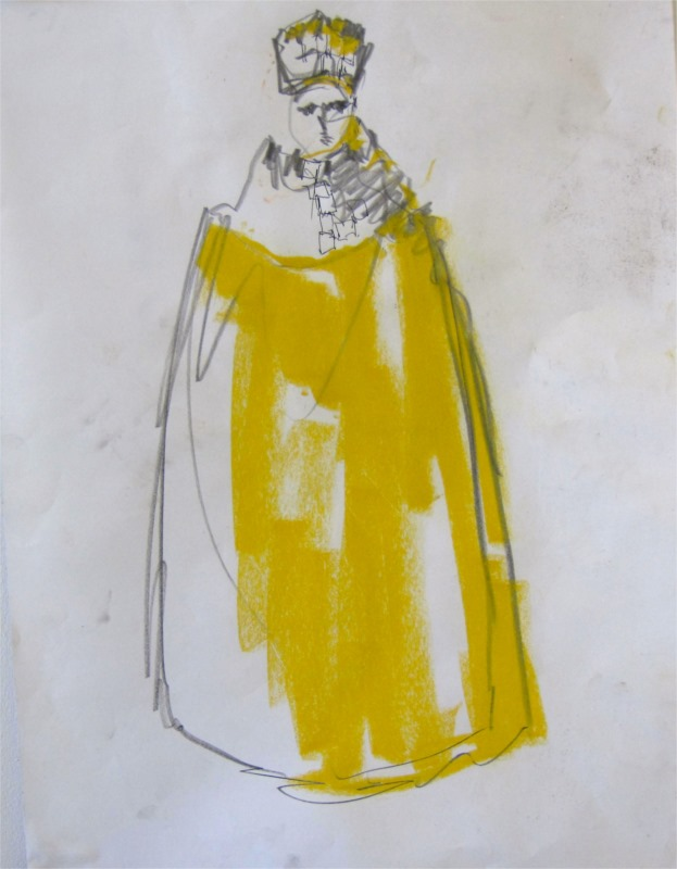 "Costume rendering by John Warren Travis for Richard in Shakespeare's ""Richard II"" at Zellerbach Playhouse, University of California, Berkeley (1982). © Image courtesy of the artist."