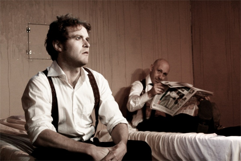 "Nicholas Pauling and Guy De Lancey in the Mechanicals' production of Harold Pinter's ""The Dumb Waiter."" © Jesse Kramer"