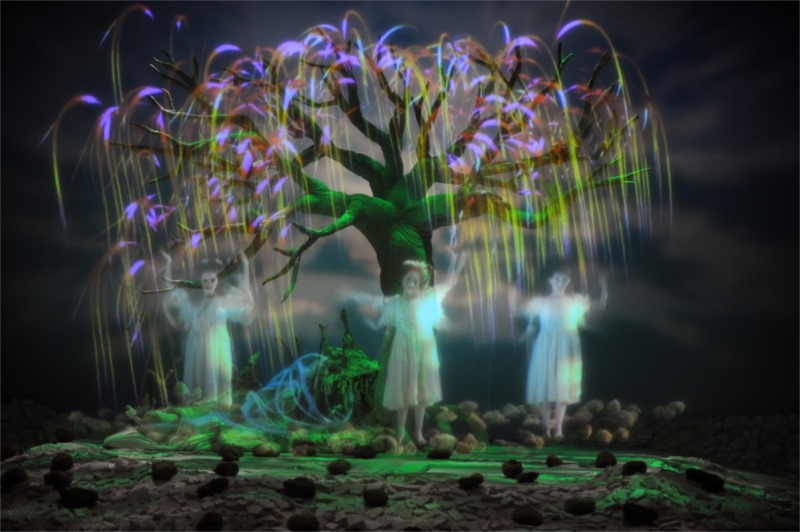 Images projected on stage as backdrop along with images projected in an interactive game. © Tristan Jeanne-Valès