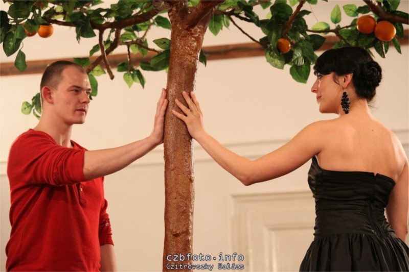 """Ákos Orosz and Erika Tankó in Maladype Theatre's """"Don Carlos"""" (dir. Zoltán Balázs). © Balázs Czitrovszky"""