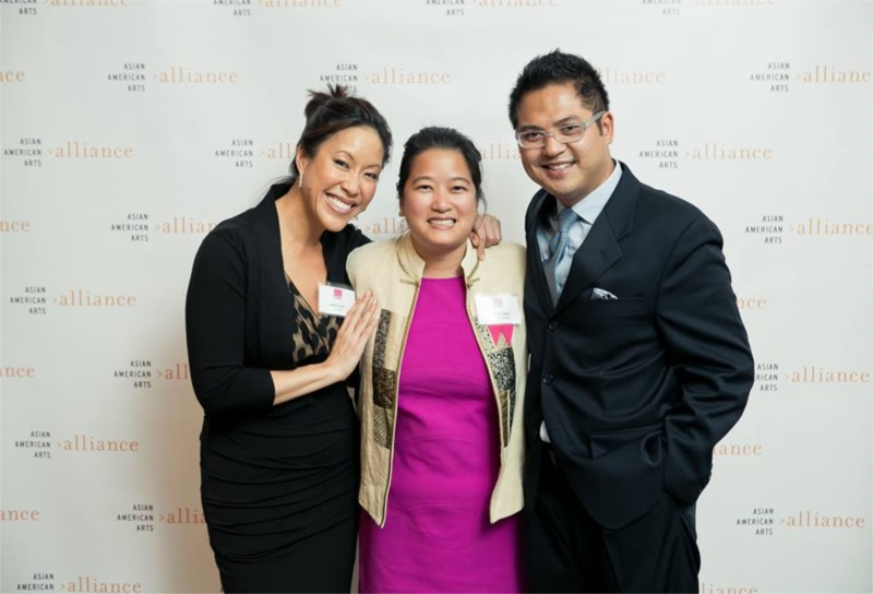 Emmy Award-winning journalist Cindy Hsu, 2013 Wai Look Awardee Gladys Chen and Victor Maog at the Asian American Arts Alliance fundraiser