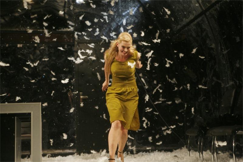 Nora (Veselina Konakchiyska) in a shower of feathers.