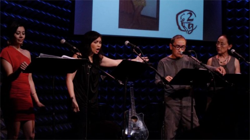 """Angel Desai, Eileen Rivera, Lolan BuSe, Jojo Gonzalez and Ching Valdes-Aran in """"Daddy Taught Me How to Woo"""" written by Lolan Buhain Sevilla at Joe's Pub, part of """"2G: Sixteen Going on Seventeen"""" at Joe's Pub © Courtesy of 2g"""