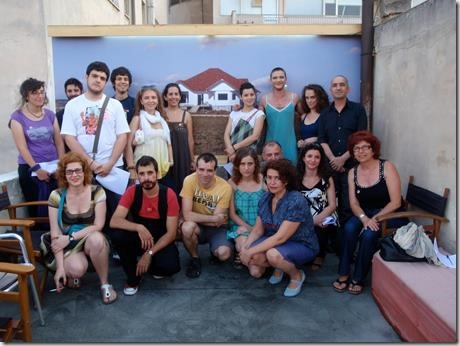 """Katerini"", an interactive performance staged in 2011 in Athens by Blitz, a Greek alternative ensemble. In the photo members of the ensemble with participating spectators. © Blitz"