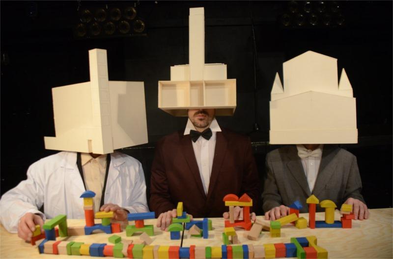 "The three architects of Milos Orson Stredron's ""Gocar Theatre"" © Jiri Strebl"
