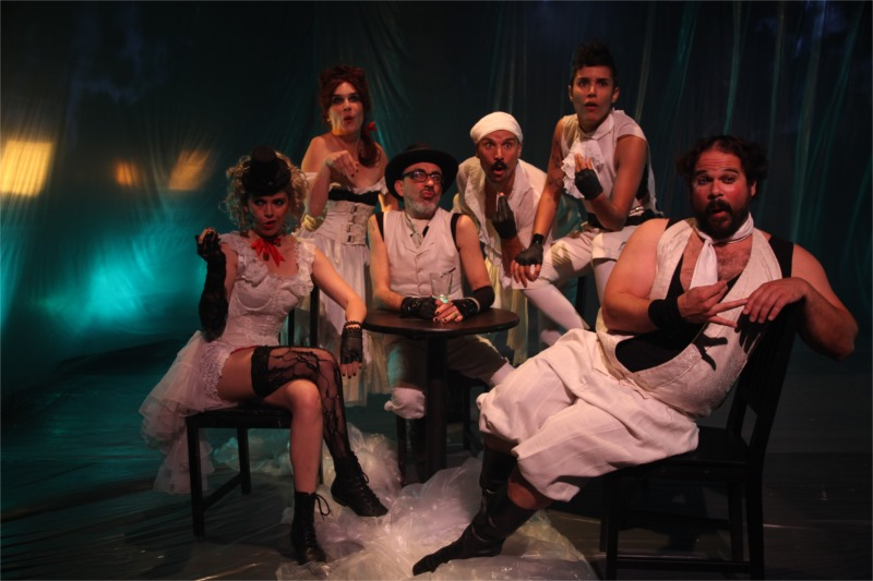 A Fried Octopus Ensemble makes fun of Toulouse Lautrec. From left: Lulu Zsebe, Alicia Hoge Adams, Kirk Wilson, Will Watkins, Kera Amendariz, Michael Dunn. © Justin Zsebe