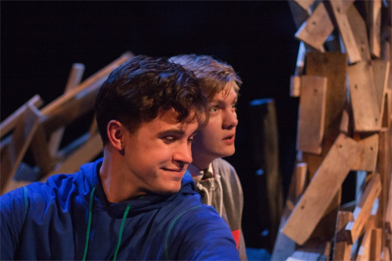 """""""Adam & Steve and the Empty Sea"""", written by Matthew Green, directed by Jason Bowcutt, Plan-B Theatre Company, Studio Theatre at the Rose Wagner Performing Arts Center. Logan Tarantino as Steve and Topher Rassmussen as Adam. Show opened January 31, 2013, © Rick Pollock."""